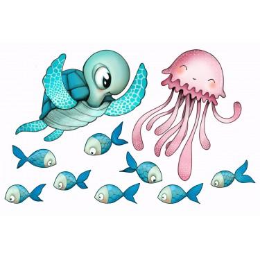 Tortue, méduse et poissons