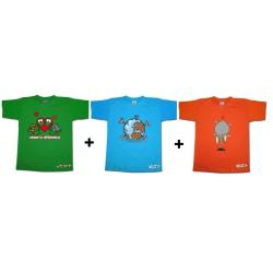 Pack 3 T-shirts Enfant Coloc à Terre Bleu Ciel, Aimer la différence Vert et Elep
