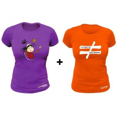 Pack 2 T-shirts femme Ne Changez Rien restez différents Orange et Chassez les id
