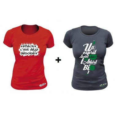 Pack 2 T-shirts femme Réfléchir c'est déjà désobéir Rouge et Un esprit sein dans